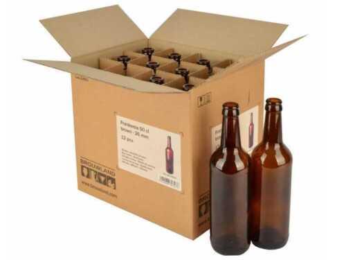 braun Karton 12 Stück Bierflaschen Frankonia 50 cl 26 mm