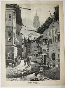 MITTENWALD-Originaler-groesserer-Holzstich-von-1888