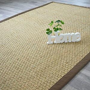 tapis en jonc de mer fibres naturelles ganse marron. Black Bedroom Furniture Sets. Home Design Ideas