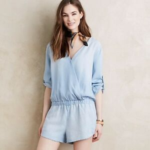 490d72d72fd2 NEW ANTHROPOLOGIE SURPLICE CHAMBRAY ROMPER BY CLOTH   STONE Large