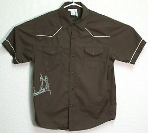 Sitka-Mens-Brown-Pearl-Snap-Short-Sleeve-Button-Front-Large-Shirt-EUC