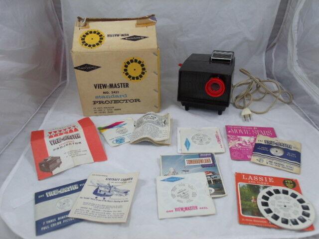 VIEW-MASTER No. 2421 Standard PROJECTOR Vintage Lot REELS Original Box Pictures