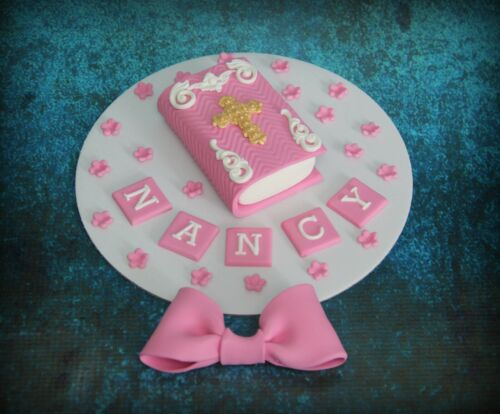 Baptism Bible Bow cake topper Personalised  edible any colour Holy Communion