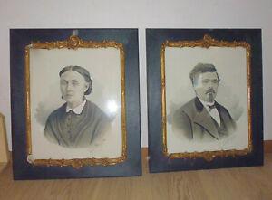 2 Portrait Ancien Pastel Aquarelle Couple Dans Cadre Doré Fin Xixe Signé
