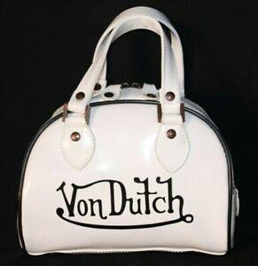 Vintage-Von-Dutch-White-Black-Lettering-Mini-Small-Bowler-Bag-Purse-Clean