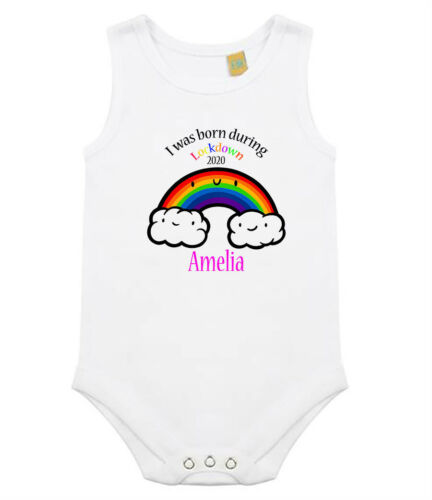 I Was Born In Lockdown 2020 Novelty Baby Vest//Bodysuit.Personalised On request