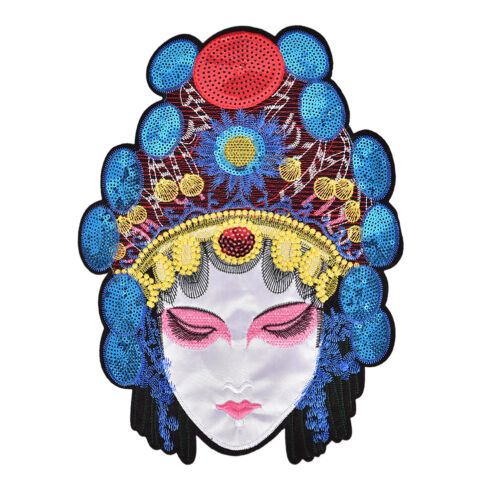 Large Beijing Opera Facial Chinese Opera Patch Character Embroidered AppliqueRDR