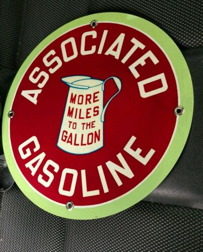 """Associated Gasoline gas oil sign ...~12/"""" round...FREE ship 10 signs"""