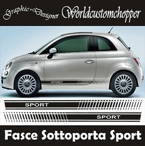 bandes adh sif autocollants rebord fiat 500 sport voiture tuning ebay. Black Bedroom Furniture Sets. Home Design Ideas