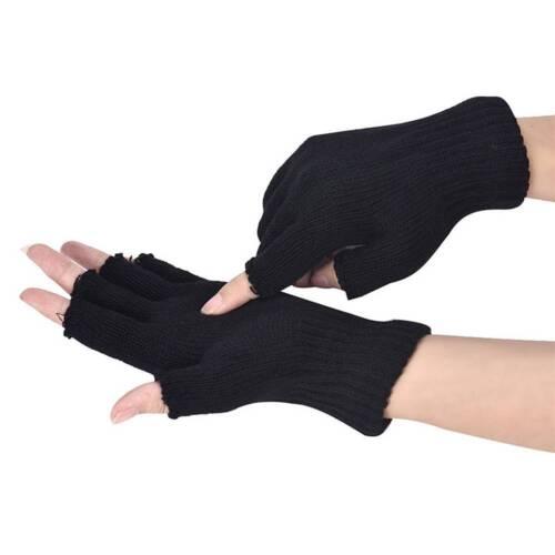 Creative Men Black Knitted Stretch Warm Half Finger Fingerless Gloves Winter