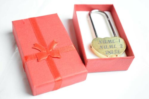 Engraved Love Lock Padlock wedding engagement anniversary bridge present gift