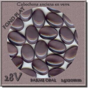 28v *** 12 Cabochons Anciens En Verre (fond Bombé) 13,5x10mm Violine Forme éLéGante