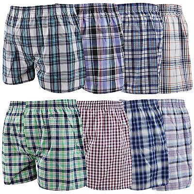 12 Pack Men's Woven Check Print Poly Cotton Boxer Shorts Underwear Trunks S/2xl Um 50 Prozent Reduziert
