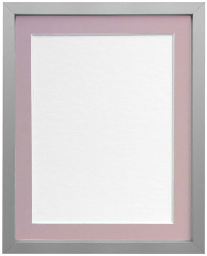 Silver Photo Picture Frame Deep Moulding with Blue or Pink Mount UK Manufacture