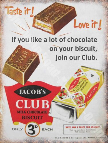 93 Small Metal Tin Sign Old Shop Jacob/'s Club Chocolate Biscuit Vintage Food