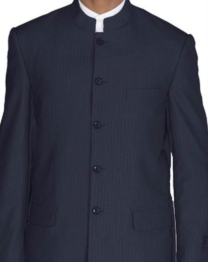 Men's Mandarin Collar Pinstripe Church Suit with Pants Black//Navy//Tan 925H