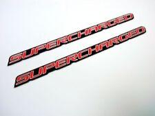 Qty 2 Supercharged Aluminum Hood Scoop Fender Spoiler Engine Emblems Red