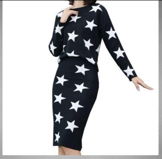 Completo Größeur vestito  gonna maglia schwarz morbido caldo elegante comodo 3388