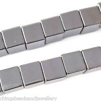 16 Inch Gemstone Hematite 8mm Cube Beads