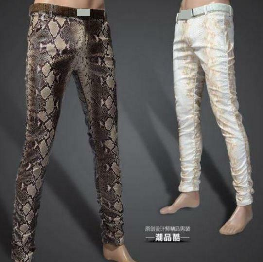 New mens slim fit pencial faux leather snake print pants trouser