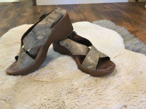 Dansko Jacinda Dress Sandal 38 Taupe Snake Print W