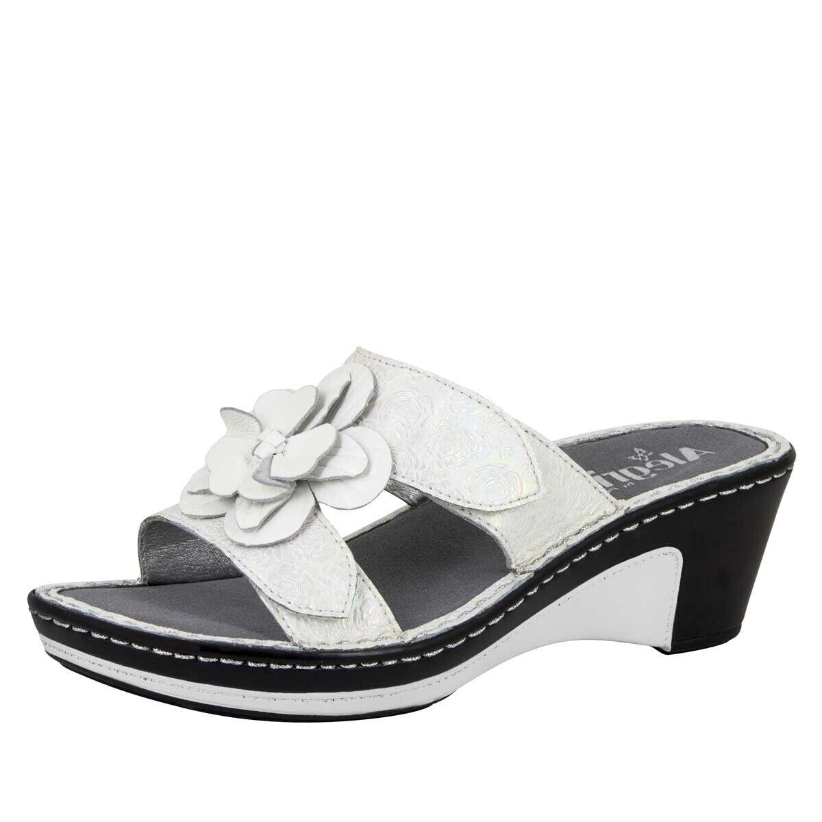 Nouveau Alegria Lana en cuir des sandales compensées fleur blanc perle UE 42 US 11.5-12