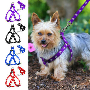 Paw-Print-Step-In-Dog-Harness-amp-Leads-Adjustable-for-Pets-Yorkie-Schnauzer-Pug-S-L