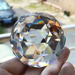 Clear-Cut-Crystal-Sphere-50mm-Faceted-Gazing-Ball-Prisms-Suncatcher-Home-Decor