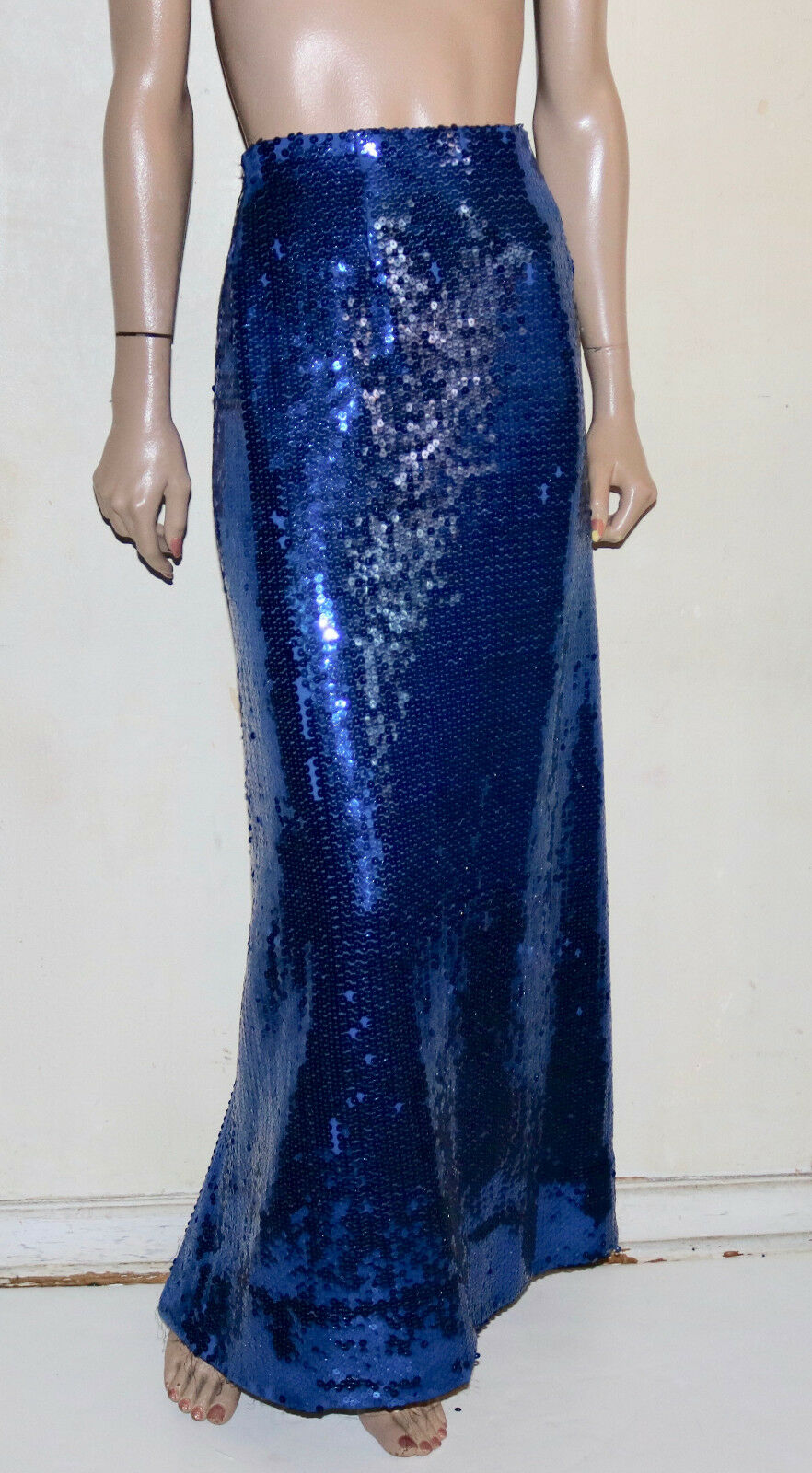 Vintage distressed bluee fish scale sequin long skirt  pre-owned