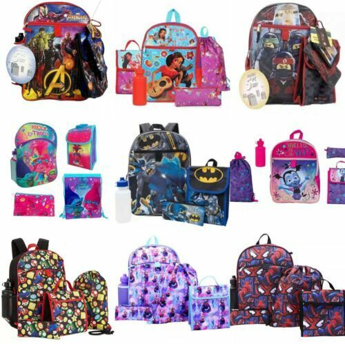 Spiderman Paw Patrol Avengers Batman Frozen School Backpack 5pc Set And More