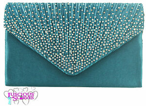 Ladies Teal Turquoise Envelope Style Box Bag Diamante Evening Races Bridal
