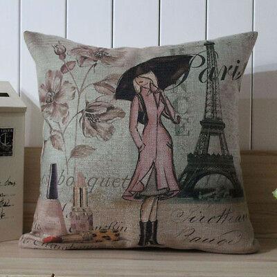 45cm*45cm Vintage Paris Girl Eiffel Tower Perfume Flowers Linen Cushion Cover