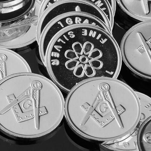 "New FreeMason Symbol/"" 1 gram .999 Fine silver bullion Coin /""Mason Lot of 10"