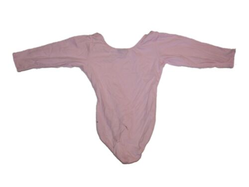 Girl Jacques Morét Solid Pink Long Sleeve Dance Gymnastics Leotard Size S 6//7