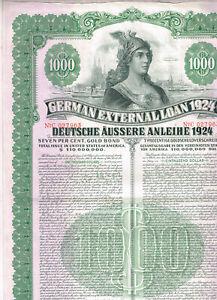 German-External-Loan-1924-Dawes-Loan-1000-Gold-Bond-cancelled-no-coupons