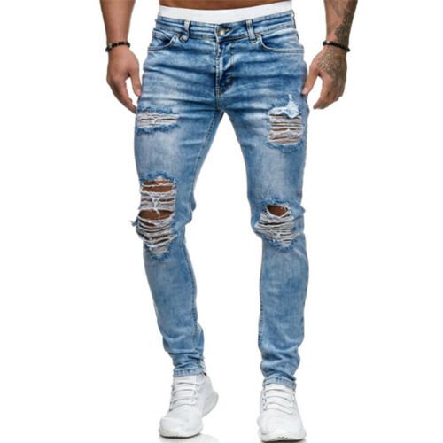 Neu Herren Distressed Cargohose Camo Denim Jeans Jeanshose Strech Freizeit Hose