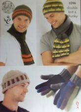 King Cole Dk chunky Hats gloves scarf Knitting Pattern Mens 3296