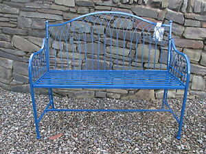 Image Is Loading Folding 2 Seater Metal Garden Bench Aegean Blue