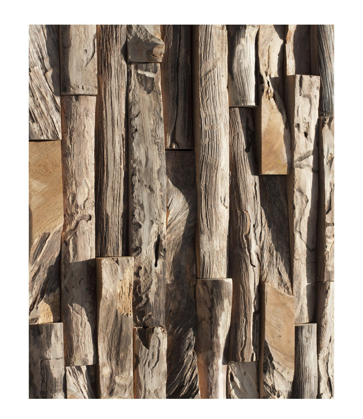 1 qm Teak Holz Mosaikfliesen HO-008 Wandverkleidung Holzwand Wanddekoration