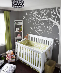 All white Nursery wall tree decals, Wall corner tree, Wall decoration KW006