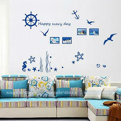Removable Wall Sticker Sea Life Happy Every Day Photo Frame Room DIY Decor Decal