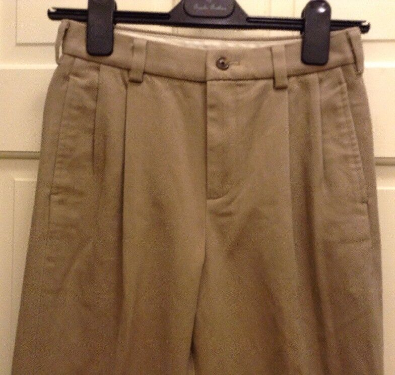 Brooks Bredhers Kids Boys Brushed Twill Tan Pleated Front Pant  Pant 12