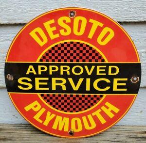 VINTAGE-DESOTO-PLYMOUTH-PORCELAIN-SIGN-GAS-SERVICE-STATION-AUTOMOBILE-AD