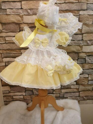 Dream Baby Girl tradizionale bianco e limone compensate Cuori Abito Tutte Le Taglie