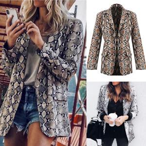 Women Fashion Snake Print Long Sleeve Jacket Coat Blazer Lapel Outwear Tops Suit