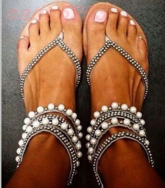 Gr32-45 Damen Gladiator flach Flip Flops Sandalen Perle Boho Schuhe Sommer Plus
