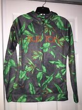 BURTON GREY LEAF PRINT WOMANS ZIP UP HOODIE SZ SMALL