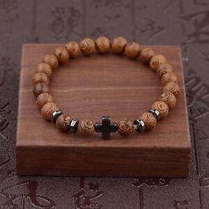 Hot-Men-Women-Hematite-Cross-Wooden-Bracelets-Stretchy-Wooden-Bracelet-Beads