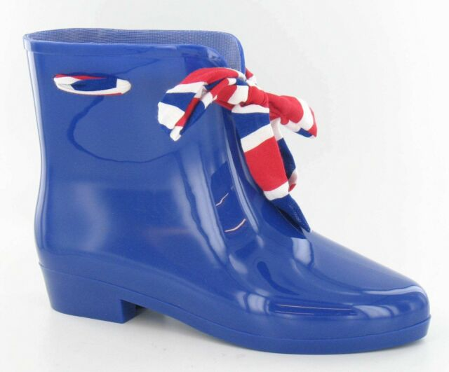 Spot On X1187 Ladies Navy with Ribbon Pull On PVC Ankle Wellies Wellingtons