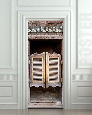 Door Fridge STICKER saloon shutter cowboy beer bar entrance mural decole film